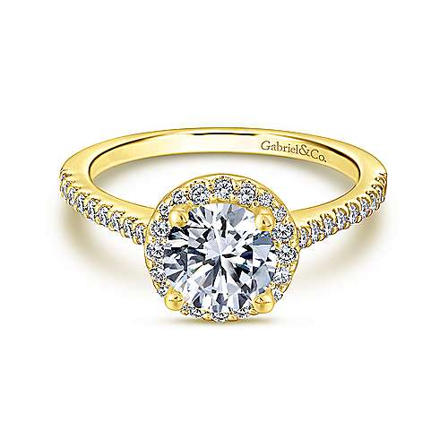 Gabriel - Carly 14k Yellow Gold Round Halo Engagement Ring