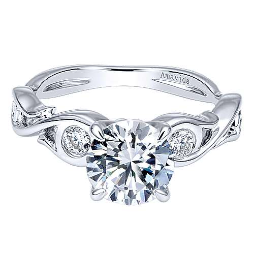 Gabriel - Carly 18k White Gold Round Straight Engagement Ring