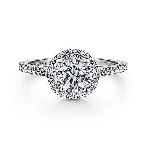 Gabriel - Carly Platinum Round Halo Engagement Ring