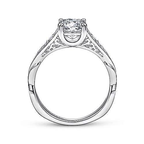 Carmelitilla 18k White Gold Round Split Shank Engagement Ring angle 2