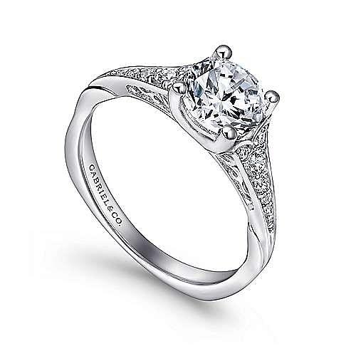 Carmelitilla 18k White Gold Round Split Shank Engagement Ring angle 3