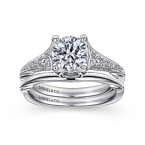 Carmelitilla 18k White Gold Round Split Shank Engagement Ring angle 4