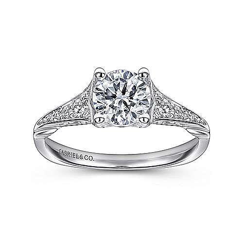 Carmelitilla 18k White Gold Round Split Shank Engagement Ring angle 5