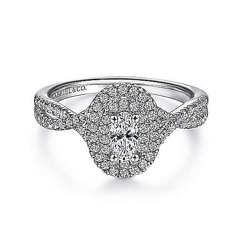 Carmen 14k White Gold Oval Halo Engagement Ring