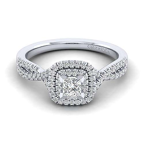 Gabriel - Carmen 14k White Gold Princess Cut Halo Engagement Ring