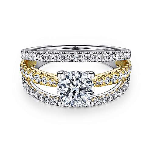 Gabriel - Carmina 14k Yellow And White Gold Round Split Shank Engagement Ring