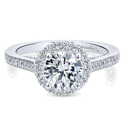 Gabriel - Carnation 14k White Gold Round Halo Engagement Ring