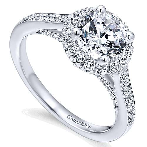 Carnation 14k White Gold Round Halo Engagement Ring angle 3