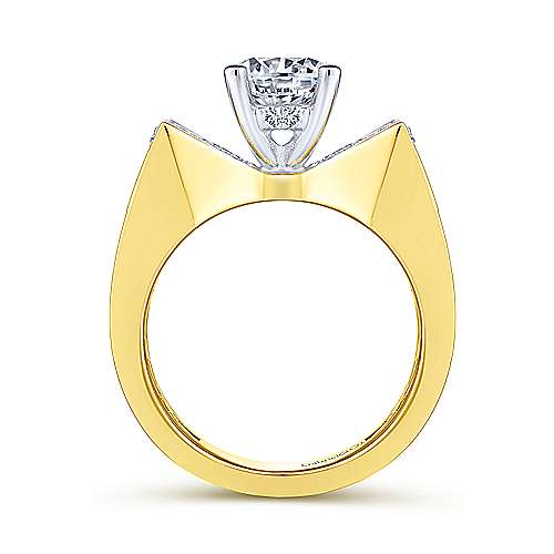 Carol 14k Yellow And White Gold Round Straight Engagement Ring angle 2