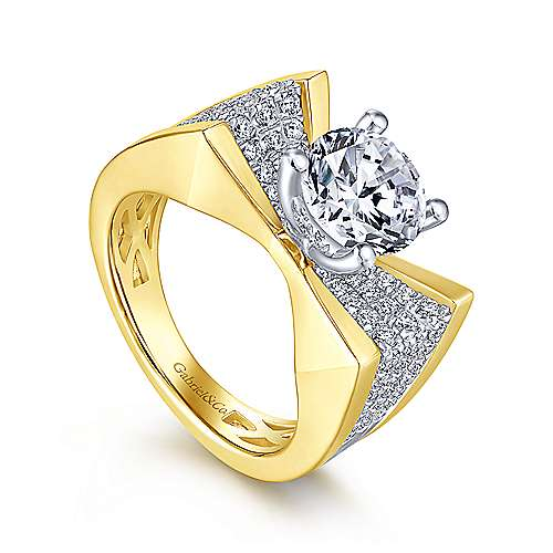 Carol 14k Yellow And White Gold Round Straight Engagement Ring angle 3