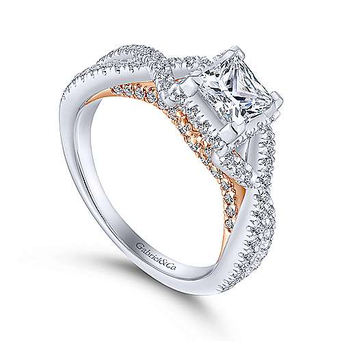 Caroline 14k White And Rose Gold Princess Cut Twisted Engagement Ring angle 3
