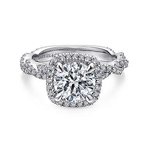 Gabriel - Carrick 18k White Gold Round Halo Engagement Ring