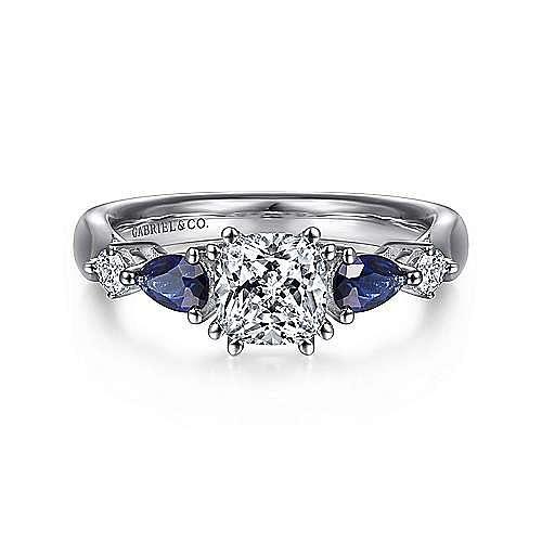 14k White Gold Cushion Cut 3 Stones A Quality Sapphire Er6002c4w44sa