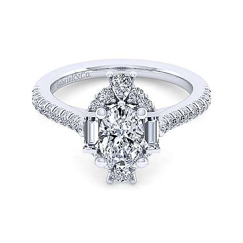 Gabriel - Carrington 14k White Gold Oval Halo Engagement Ring