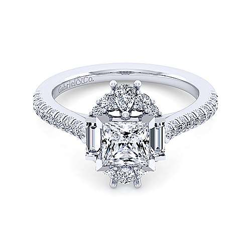 Gabriel - Carrington 14k White Gold Princess Cut Halo Engagement Ring