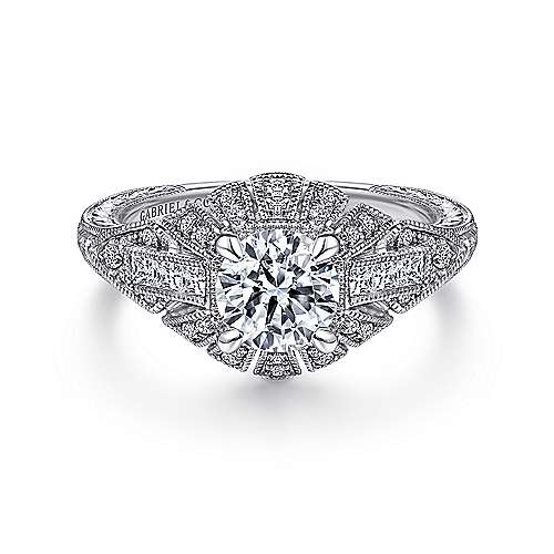 Gabriel - Carter 14k White Gold Round Wide Band Engagement Ring
