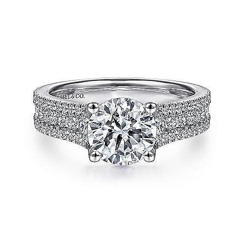 Gabriel - Carver 14k White Gold Round Straight Engagement Ring
