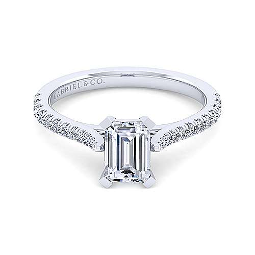 Gabriel - Casey 14k White Gold Emerald Cut Straight Engagement Ring