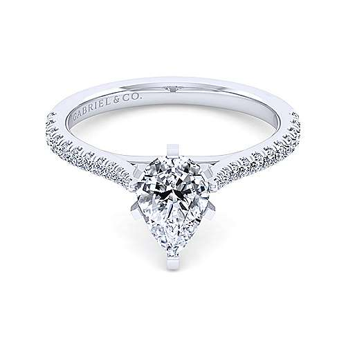 Gabriel - Casey 14k White Gold Pear Shape Straight Engagement Ring