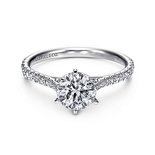 Gabriel - Casey 14k White Gold Round Straight Engagement Ring