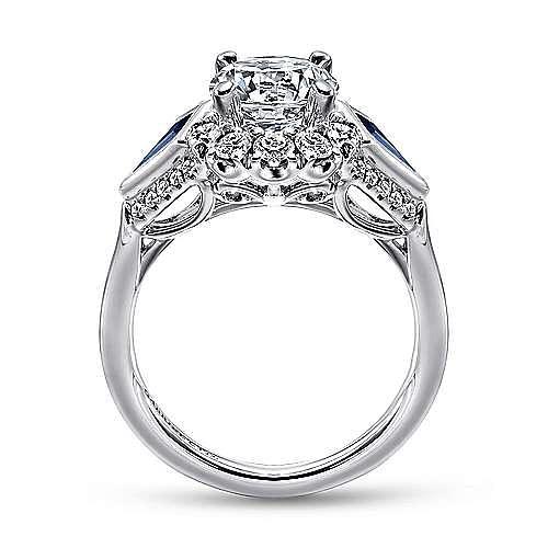 Caspia 18k White Gold Round 3 Stones Halo Engagement Ring angle 2