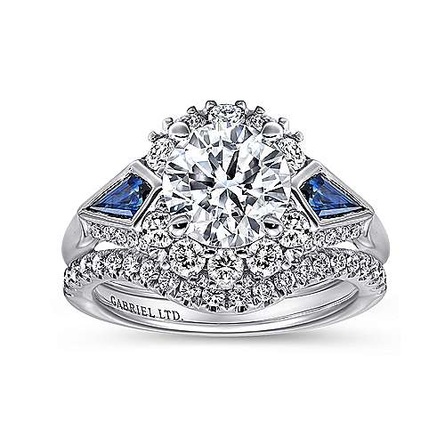 Caspia 18k White Gold Round 3 Stones Halo Engagement Ring angle 4