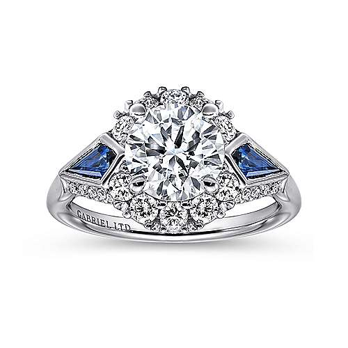 Caspia 18k White Gold Round 3 Stones Halo Engagement Ring angle 5