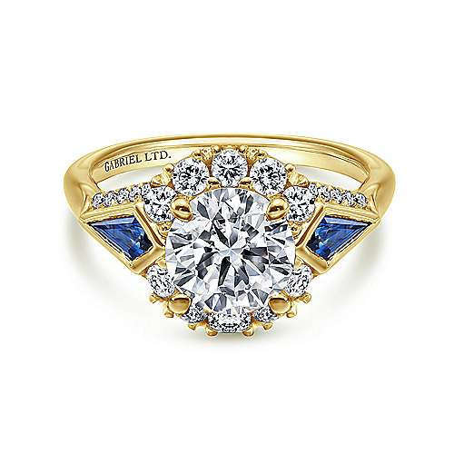 Gabriel - Caspia 18k Yellow Gold Round Halo Engagement Ring