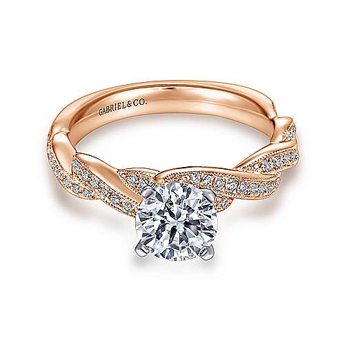Gabriel - Cassidy 14k White And Rose Gold Round Twisted Engagement Ring