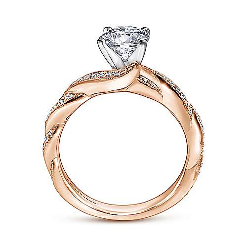 Cassidy 14k White And Rose Gold Round Twisted Engagement Ring angle 2