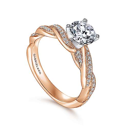 Cassidy 14k White And Rose Gold Round Twisted Engagement Ring angle 3