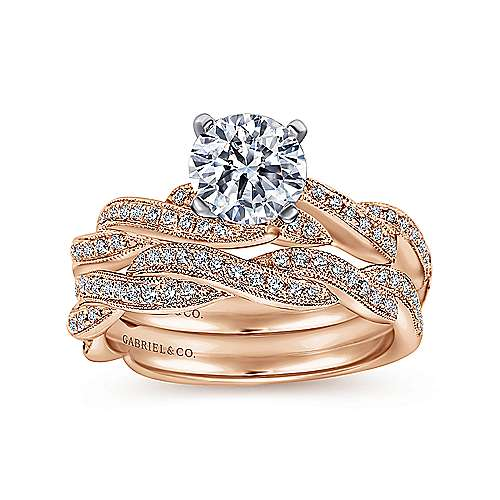 Cassidy 14k White And Rose Gold Round Twisted Engagement Ring angle 4