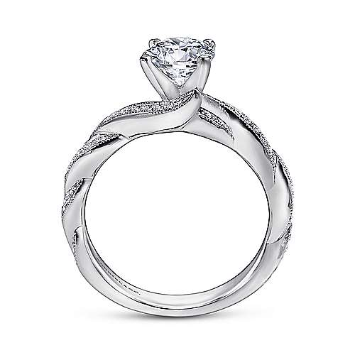 Cassidy 14k White Gold Round Twisted Engagement Ring angle 2