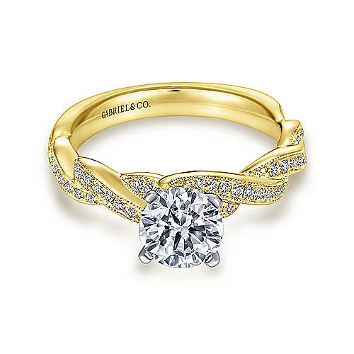 Cassidy 14k Yellow And White Gold Round Twisted Engagement Ring angle 1