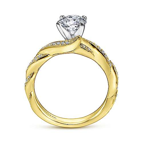 Cassidy 14k Yellow And White Gold Round Twisted Engagement Ring angle 2