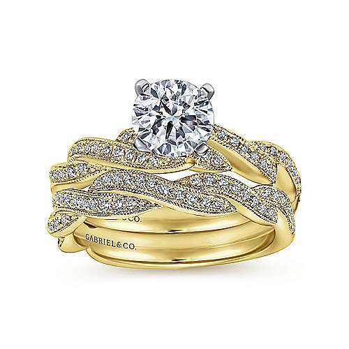 Cassidy 14k Yellow And White Gold Round Twisted Engagement Ring angle 4