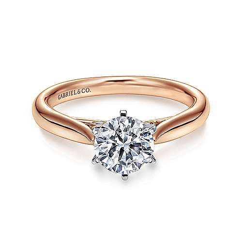Gabriel - Cassie 14k White And Rose Gold Round Solitaire Engagement Ring