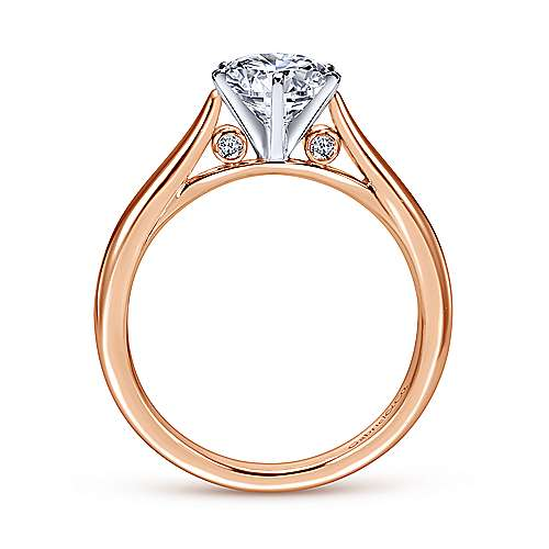 Cassie 14k White And Rose Gold Round Solitaire Engagement Ring angle 2