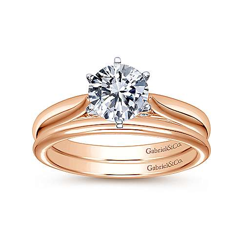 Cassie 14k White And Rose Gold Round Solitaire Engagement Ring angle 4