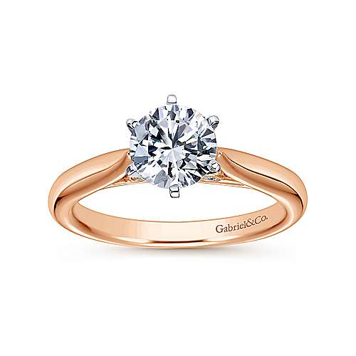 Cassie 14k White And Rose Gold Round Solitaire Engagement Ring angle 5