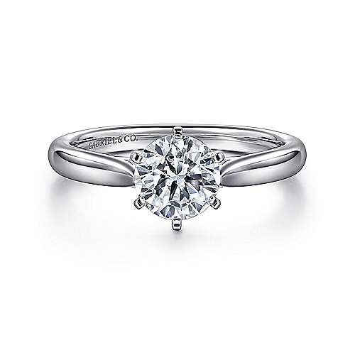 Cassie 14k White Gold Round Solitaire Engagement Ring angle 1