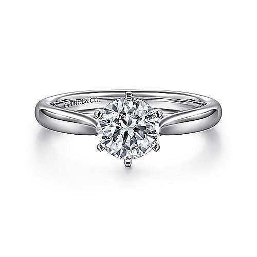 Gabriel - Cassie 14k White Gold Round Solitaire Engagement Ring
