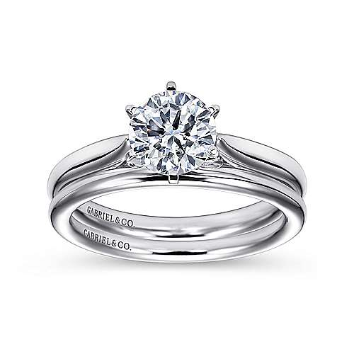 Cassie 14k White Gold Round Solitaire Engagement Ring angle 4