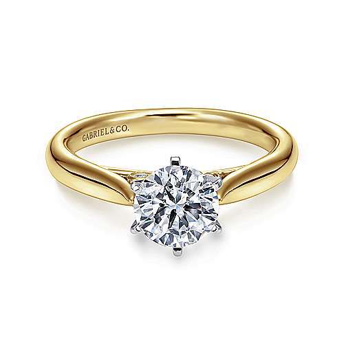 Gabriel - Cassie 14k Yellow And White Gold Round Solitaire Engagement Ring