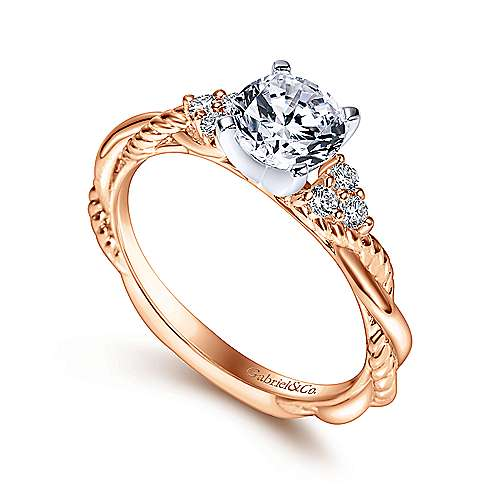 Catalina 14k White And Rose Gold Round Twisted Engagement Ring angle 3