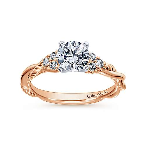 Catalina 14k White And Rose Gold Round Twisted Engagement Ring angle 5