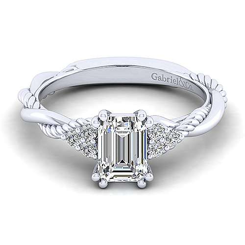 Gabriel - Catalina 14k White Gold Emerald Cut Twisted Engagement Ring