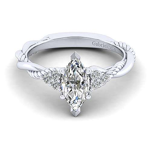 Gabriel - Catalina 14k White Gold Marquise  Twisted Engagement Ring