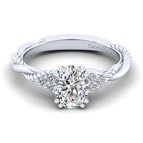 Gabriel - Catalina 14k White Gold Oval Twisted Engagement Ring