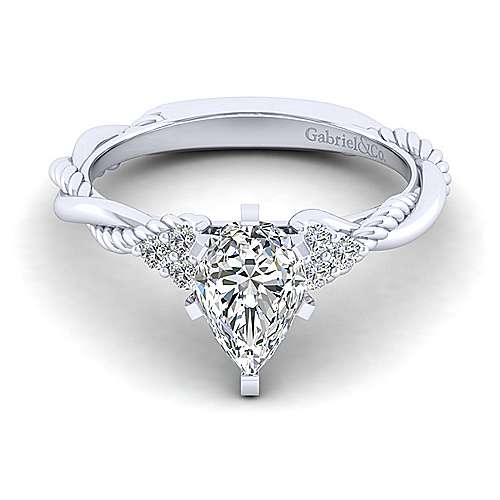 Gabriel - Catalina 14k White Gold Pear Shape Twisted Engagement Ring